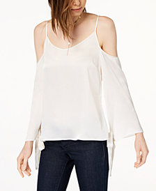 kensie Tie-Sleeve Cold-Shoulder Blouse