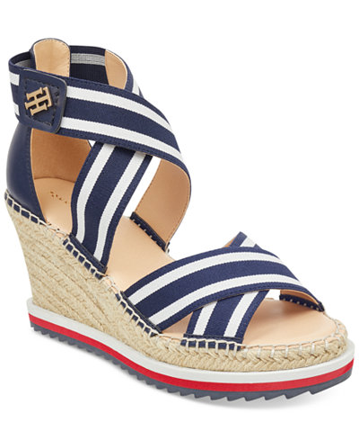 tommy hilfiger yesia espadrille platform wedge sandals. Black Bedroom Furniture Sets. Home Design Ideas