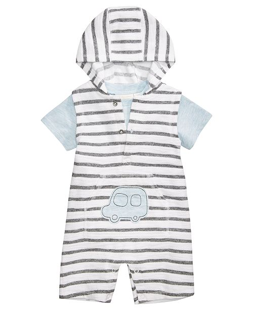 First Impressions 2-Pc. T-Shirt & Striped Hooded Overall Set, Baby Boys, Created for Macy's
