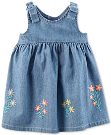 Carter's Embroidered Cotton Chambray Dress, Baby Girls