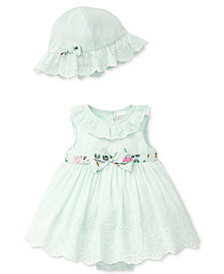 Little Me 2-Pc. Eyelet Cotton Popover & Sun Hat, Baby Girls
