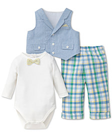 Little Me 3-Pc. Cotton Bodysuit, Vest & Pants Set, Baby Boys