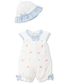 Little Me 2-Pc. Ruffled Popover Romper & Hat Set, Baby Girls