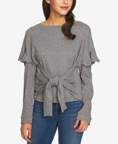 1.STATE Tie-Front Top