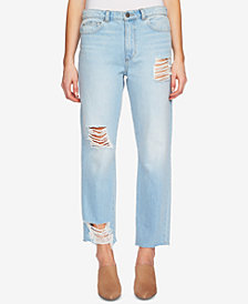 1.STATE Cotton Ripped Straight-Leg Jeans