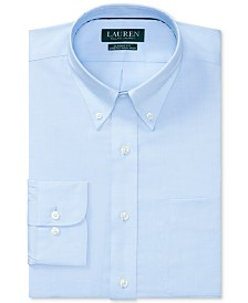 Lauren Ralph Lauren Men's Classic/Regular Fit Non-Iron Stretch Pinpoint Dress Shirt