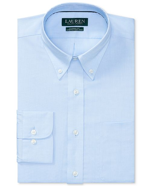Ralph Lauren Men's Classic/Regular Fit Non-Iron Stretch Pinpoint Dress Shirt