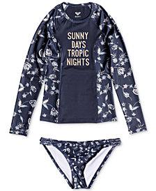 Roxy 2-Pc. Beach Days Rash Guard Swim Set, Big Girls