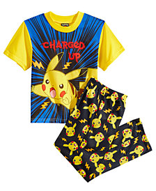 Pokémon 2-Pc. Charged Up Pikachu Pajama Set, Little Boys & Big Boys