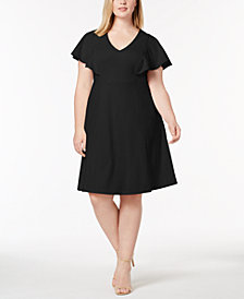Calvin Klein Plus Size V-Neck A-Line Dress