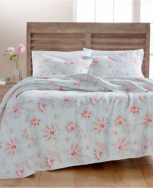 Martha Stewart Collection CLOSEOUT! Stitchcraft Cotton King Quilt, Created for Macy's