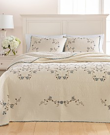 Martha Stewart Collection Westminster Vines Cotton Queen Bedspread, Created for Macy's