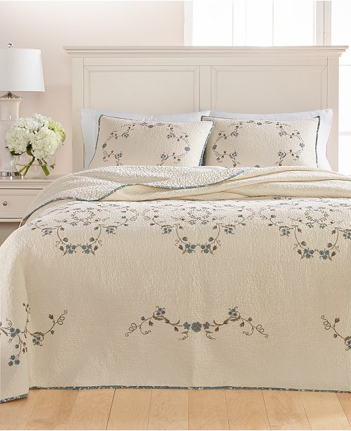 Martha Stewart Collection Westminster Vines Cotton Twin Bedspread, Created for Macy's