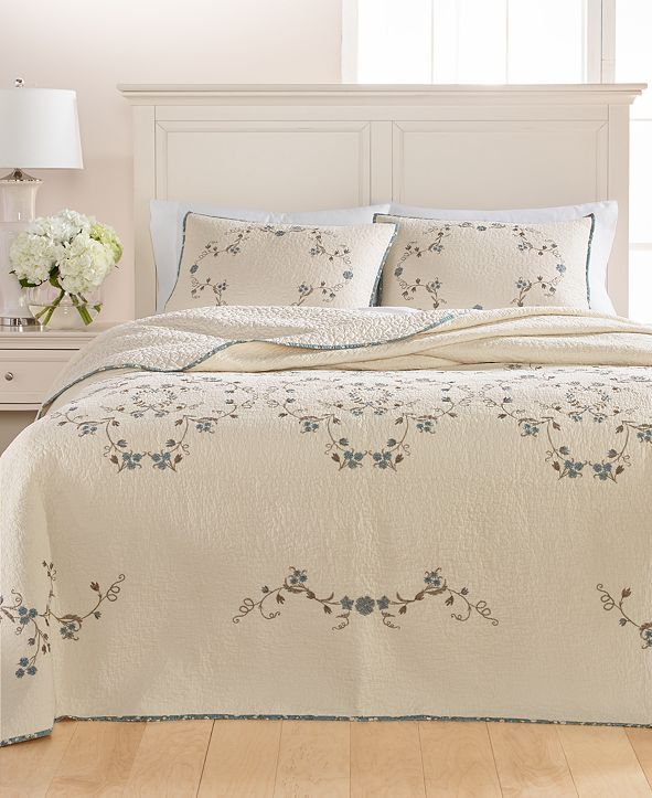 Martha Stewart Collection CLOSEOUT! Westminster Vines Cotton Full Bedspread, Created for Macy's