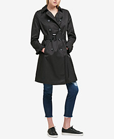 DKNY Belted Ruffle-Sleeve Trench Coat