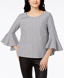 BCX Juniors' Striped Ruffle-Sleeved Blouse