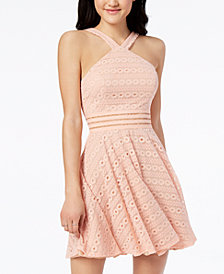 City Studios Juniors' Illusion Lace Fit & Flare Dress