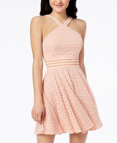 City Studios Juniors' Illusion Lace Fit & Flare Dress