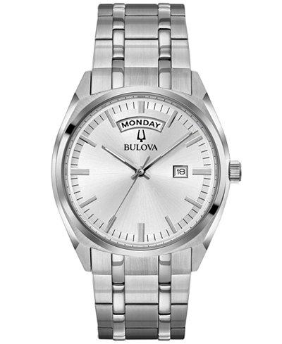 Bulova Men's Stainless Steel Bracelet Watch 39mm