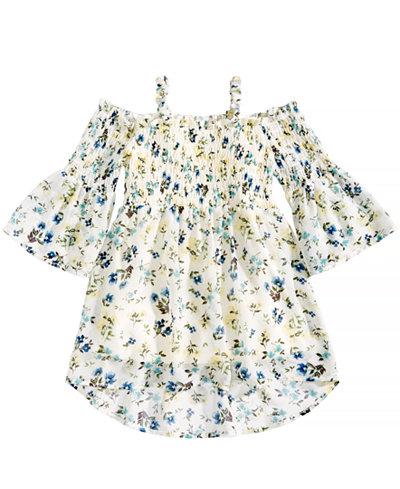 Beautees Floral-Print Smocked Top, Big Girls