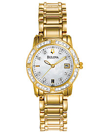 Bulova Women's Diamond-Accent Gold-Tone Stainless Steel Bracelet Watch 30.5mm, Created for Macy's