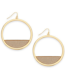 Thalia Sodi Gold-Tone Glitter Drop Hoop Earrings, Created for Macy's