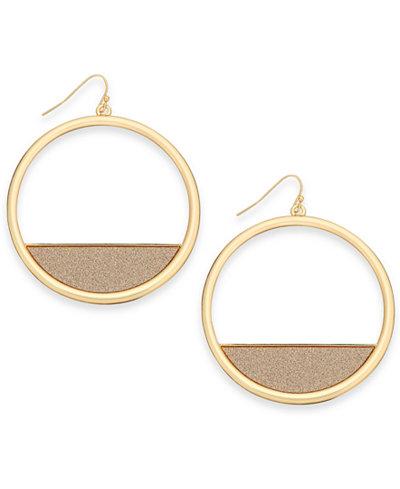 Thalia Sodi Gold-Tone Glitter Drop Hoop Earrings, Created for Macy's