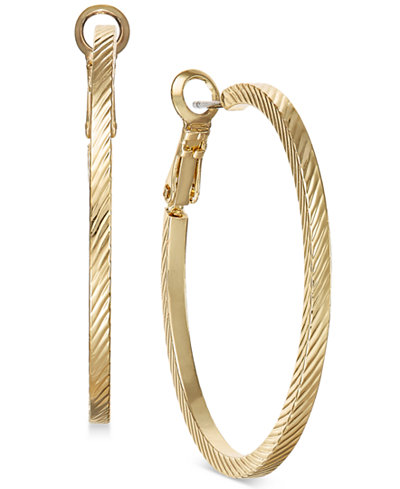 Charter Club Gold-Tone Wide Textured Hoop Earrings, Created for Macy's
