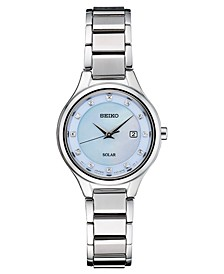 Women's Solar Diamond-Accent Silver-Tone Stainless Steel Bracelet Watch 29mm