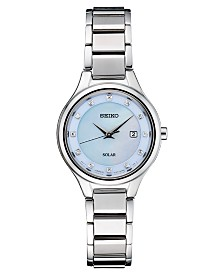 Seiko Women's Solar Diamond-Accent Silver-Tone Stainless Steel Bracelet Watch 29mm