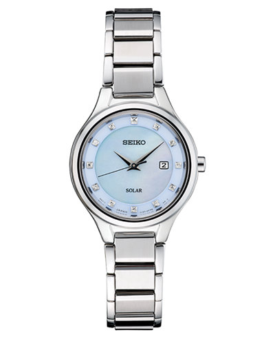 Seiko Women's Solar Diamond-Accent Silver-Tone Stainless Steel Bracelet Watch 29mm