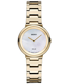 Seiko Women's Solar Essentials Gold-Tone Stainless Steel Bracelet Watch 27.5mm