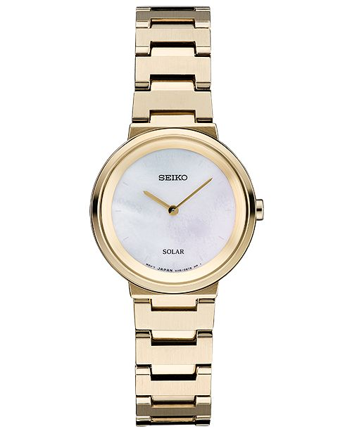 Seiko Women's Solar Essentials Gold-Tone Stainless Steel Bracelet Watch 27.5mm
