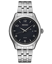 Seiko Men's Solar Essentials Stainless Steel Bracelet Watch 42mm