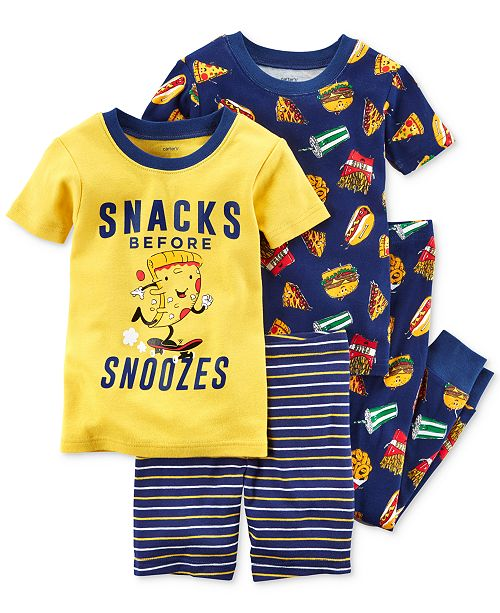Carter's 4-Pc. Snacks Before Snoozies Cotton Pajama Set, Toddler Boys