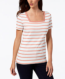 Karen Scott Petite Cotton Striped Square-Neck Top, Created for Macy's