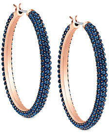 "Swarovski Two-Tone Blue 1-1/4"" Crystal Hoop Earrings"