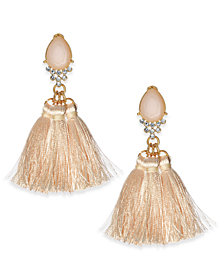 I.N.C. Pink Glass and Tassel Earrings, Created for Macy's