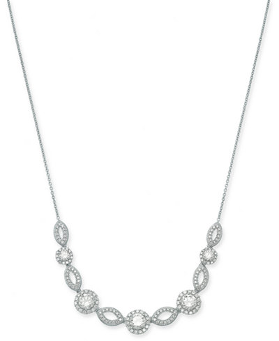 Danori Silver-Tone Crystal & Pavé Collar Necklace, 16