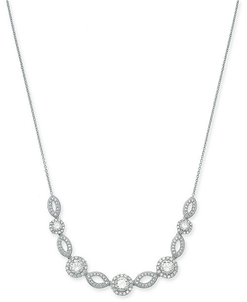 "Eliot Danori Silver-Tone Crystal & Pavé Collar Necklace, 16"" + 2"" extender (Also Available in Rose-Gold Tone), Created for Macy's"