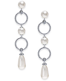 Danori Silver-Tone Cubic Zirconia Link & Imitation Pearl Drop Earrings, Created for Macy's