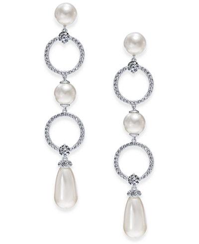 Danori Silver-Tone Cubic Zirconia Link & Imitation Pearl Drop Earrings, Created for Macy's