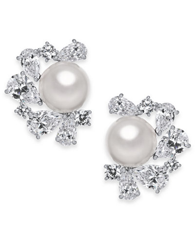 Danori Silver-Tone Cubic Zirconia & Imitation Pearl Cluster Stud Earrings, Created for Macy's