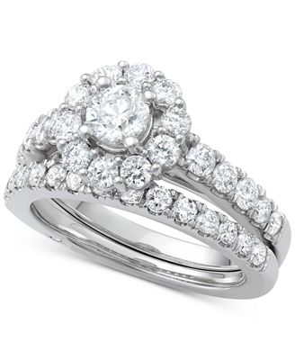 Marchesa Certified Diamond Bridal Set 2 Ct T W In 18k Gold