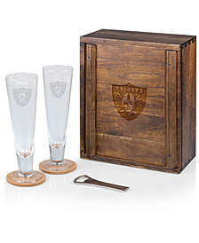 Picnic Time Oakland Raiders Boxed Pilsner Glass Set