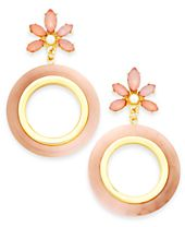 I.N.C. Gold-Tone Stone Flower & Resin Gypsy Hoop Earrings, Created for Macy's