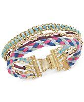 I.N.C. Gold-Tone Cotton Thread Multi-Row Bracelet, Created for Macy's