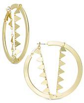 I.N.C. Gold-Tone Triangle Chain Hoop Earrings, Created for Macy's