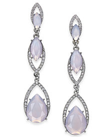 I.N.C. Silver-Tone Stone Triple Drop Earrings, Created for Macy's