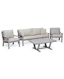 Tara Aluminum Outdoor 4-Pc. Seating Set (1 Sofa, 2 Club Chairs & 1 Coffee Table), Created for Macy's